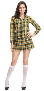 Long Sleeves Two Piece Plaid Student Costume