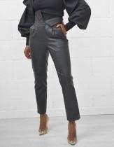 Black Leather High Waist Fashion Trousers