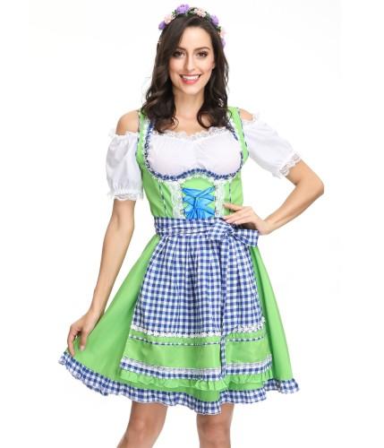 Weißes und blaues Bier Mädchen Kostüm