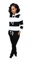 Wide Stripes Kapuzensweatanzug mit langen Ärmeln