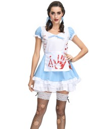 White and Blue French Maid Halloween Costume