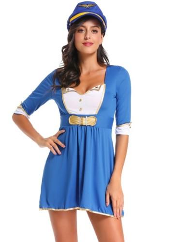 Damen Navy Kleid und Hut Kostüm