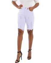 Knielengte gescheurde jeans shorts met hoge taille
