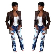 White and Blue Damaged Fashion Jeans