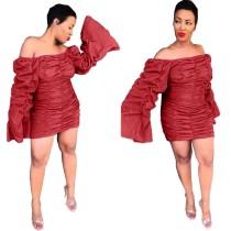 Sexy schulterfreies Minikleid mit Rüschen und Knallärmeln
