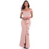 Pink Off Shouldr Ruffles Evening Dress
