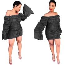Mini vestido fruncido con hombros descubiertos y mangas pop