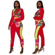 Conjunto de pantalones y blazer africano colorido estampado