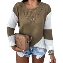 Contrast O-Neck Pullover Loose Sweater