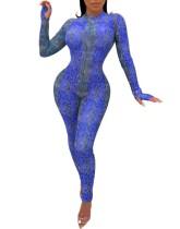 Combinaison Bodycon Sexy à manches longues en peau de serpent