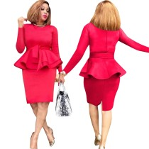Mother of the Bride Solid Peplum Dress