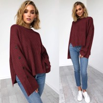 Plain Solid High Low Slit Sweater