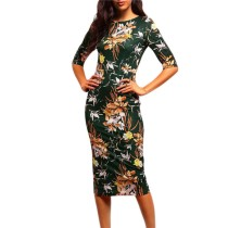 Floral Green Formal Midi Dress