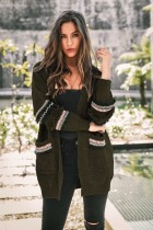Manteau tricot ethnique à manches longues