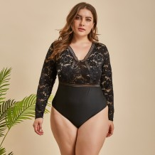 Plus Size Black Lace Langarm Teddy Dessous