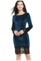 Lace Patchwork Velvet Party Dress