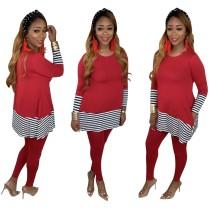 Casual Stripes Long Shirt und Leggings