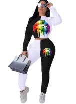 Print Kontrast Langarm Crop Top und Hosen Set