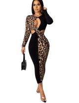 Sexy ausgeschnittenes Leoparden-Midikleid