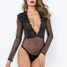 Sexy Black See Through Long Sleeve Bodysuit Lingerie