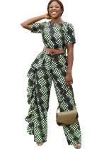 Conjunto de top y pantalones africanos con estampado