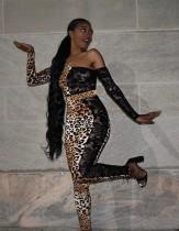 Spitzen Patchwork Leoparden Top und Hose Set