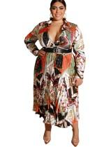 Vestido largo plisado estampado talla grande