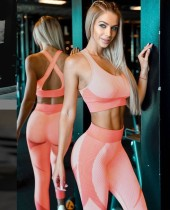 Sexy Kontrast Fitness Yoga BH und Leggings