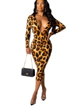 Sexy Deep-V Leopard Midi Dress with Long Sleeves