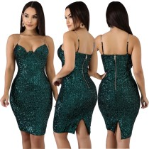 Sexy Sequins Straps Club Dress