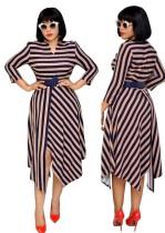 Платье с принтом в полоску Нерегулярное длинное платье