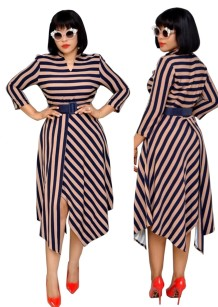 Vestido largo irregular con rayas estampadas
