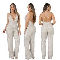 Sexy Pailletten Halfter Overall