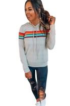 Long Sleeves Stripes Hoody Top