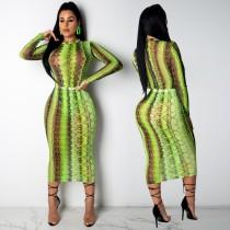 Sexy ver através da pele de cobra vestido midi