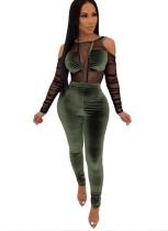 Sexy Bodycon-Samtoverall mit langen Ärmeln und Ausschnitten