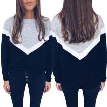 Camicia allentata a maniche lunghe con scollo a O in contrasto