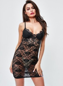 Sexy Black Lace Straps Sleeping Dress