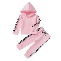 Kinder Mädchen Rosa Long Sleeves Hoody Sweat Suit