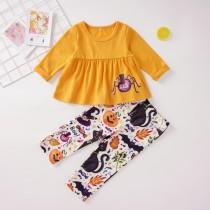 Crianças menina impressão Halloween Pants Suit