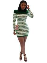 Striped Print Long Sleeves Mini Dress