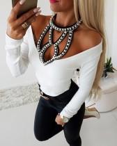 Chemise échancrée sexy en perles blanche