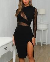 Schwarzes Sexy Crystal Slit Partykleid