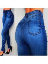 Sexy Perlenjeans mit hoher Taille