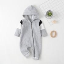 Baby Boy grau Kapuzen-Overall mit Reißverschluss Strampler