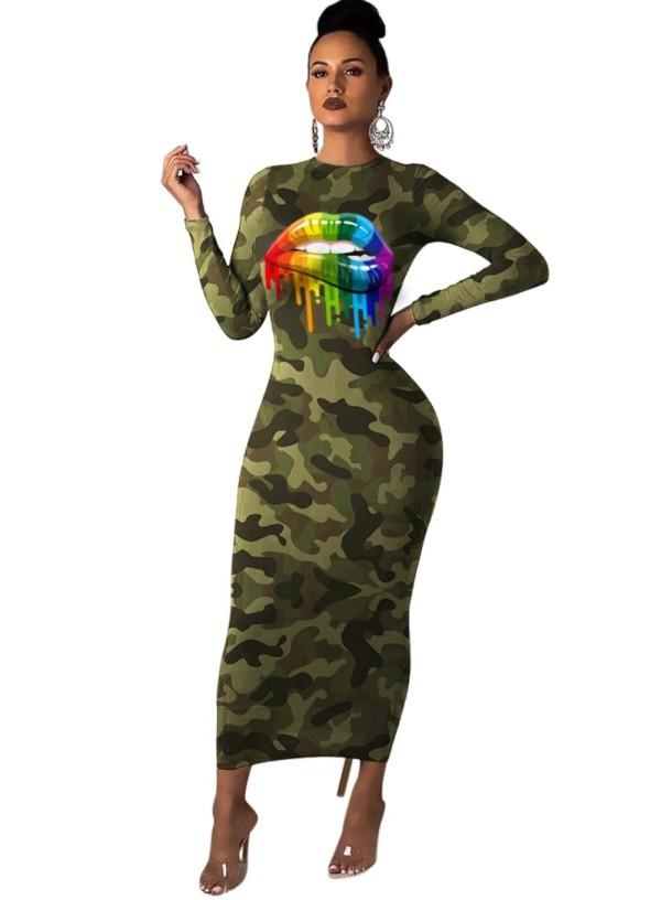 Camou Yazdır Uzun Kollu Midi Elbise