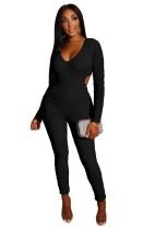 Sexy Bodycon Jumpsuit mit langen Ärmeln und Rüschen