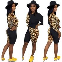 Camisa de manga corta con estampado de leopardo y pantalones cortos ajustados