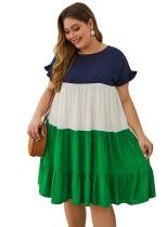 Vestido camisero en contraste de talla grande