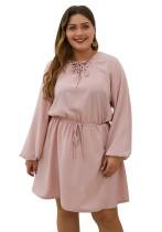 Vestido de cordón liso liso de talla grande